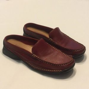 NWOB Dockers Red Leather Semi Open Heel Loafer